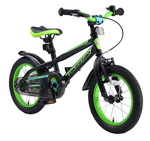 BIKESTAR Kinderfahrrad 14 Zoll für Mädchen und Jungen ab 4 Jahre | Kinderrad Urban Jungle | Fahrrad für Kinder Schwarz & Grün | Risikofrei Testen