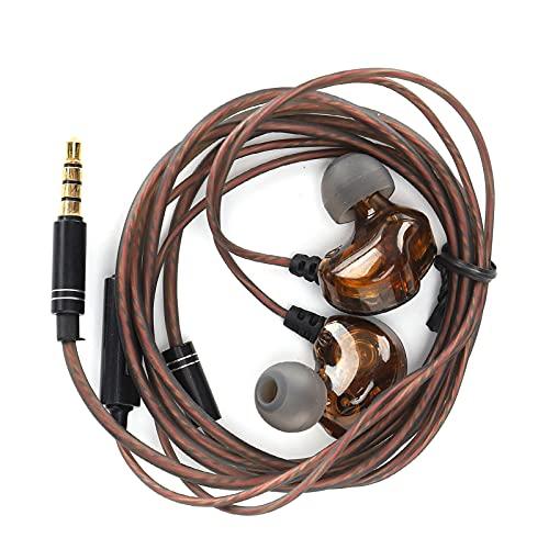 Auriculares HIFI, auriculares envolventes redondos con cable, auriculares con controlador dinámico dual de cuatro núcleos, cómodos de llevar y con un mejor aislamiento acústico.