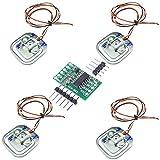 Aihasd 4PCS Umana Peso della cella di carico Sensore di ponderazione Mezzo Ponte 50KG con Amplificatore HX711 Modulo AD Estensimetro Bilancia da Bagno
