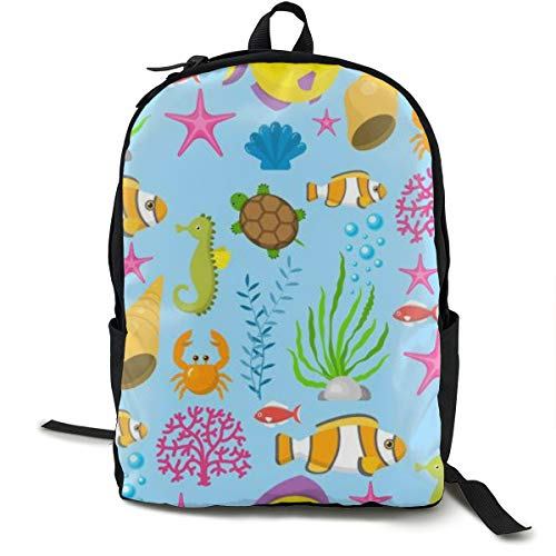 Unisex Fashion Backpack Aquatic Funny Sea Animals Creatures Cartoon Shell Aquarium Sealife School Bag 15.6 Inch Laptop Computer Casual Daypack