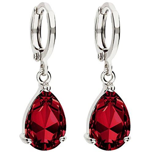 MYA art Damen Creolen Ohrringe Hängend Ohrhänger mit Zirkonia Stein Tropfen Oval Anhänger Silber Rubin Rot Vergoldet MYAWGOHR-72