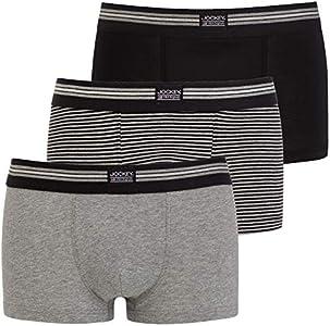 Jockey USA Originals Cotton Stretch Short Trunks 3-Pack Grey Striped Mix
