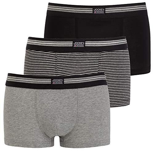 Jockey Cotton Stretch Short Trunk 3Pack, Black Stripe, L