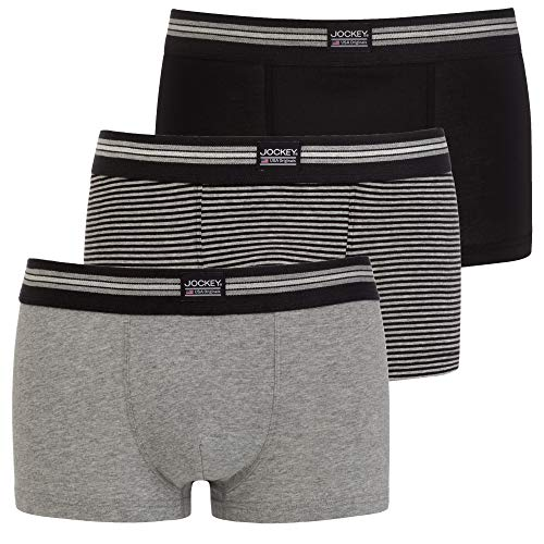 Jockey Cotton Stretch Short Trunk 3Pack, Black Stripe, M
