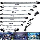 DOCEAN Lampe d'aquarium 58 cm 5050SMD lumière blanche & lumière bleue Lighting 33 LED Lampe avec prise EU Lumière étanche pour réservoir de poisson, 7,8 W, 12 V
