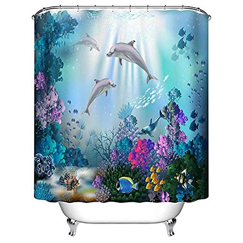 RedSuns Underwater World Shower Curtains Ocean Dolphin Deep Sea Shower Curtain Polyester Waterproof Curtains with 12 hook Bathroom