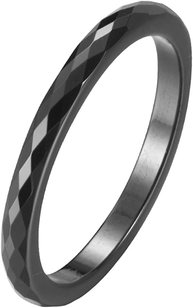 IFUAQZ Women's 2MM Ceramic Ring Rhombic Cut Faceted Design Engagement Wedding Band Comfort Fit Black, Pink
