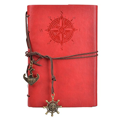 Voguecase Retro Taccuino, Vintage Retro Leather Cover Journal Jotter Diary Notebook (Rosso)