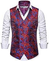 ief.G.S Mens Vests Dress, Fashion Paisley Floral Jacquard Print Waistcoat Suit Vest for Men or Tuxedo Vest