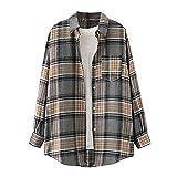 Wave166 Blusa de manga larga para mujer, camisa a cuadros con botón, elegante y extragrande, a cuadros, con bolsillo, blusa suelta con patrón de cuadros, gris, XL
