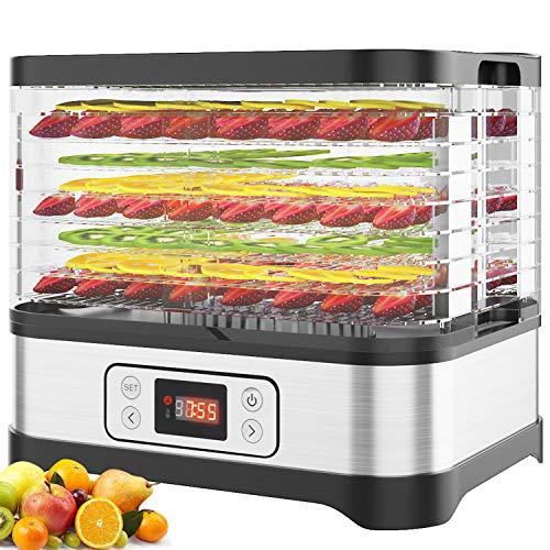 Dörrautomat mit Temperaturregler, 8 Etagen/LCD Dörrgerät für Lebensmittel, Fleisch Frucht Gemüsetrockner, Obst-Trockner, Dehydrator, BPA-frei, 400W