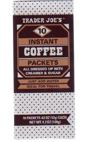 Trader Joe's Instant Coffee Packets w. Creamer & Sugar (10 packets, 1 box)