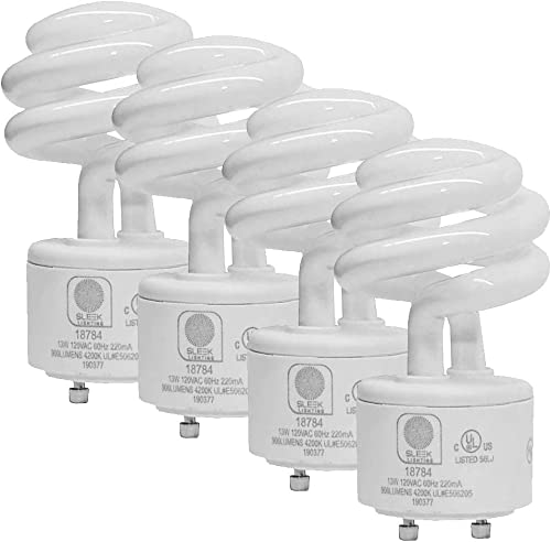 SleekLighting - 13Watt GU24 Base 2 prong light bulbs- UL approved-120v 60Hz - Mini Twist Lock Spiral -Self Ballasted ...
