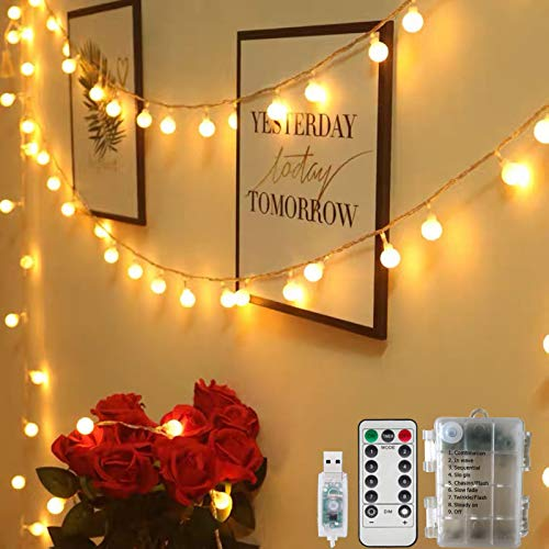 Globe Fairy String Lights USB/Battery Powered 59FT/18M 100LEDs Indoor String Lights 8 Modes Waterproof with Remote & Timer for Bedroom Christmas Wedding Garden Party Decoration - Warm White