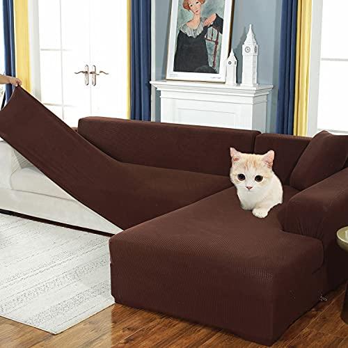 Thicken fundas de sofa seccional en forma de L para sala de estar, funda de sofá de elasticas protector de muebles para 1 2 3 4 5 plazas,Juegos de Sofás para perros mascotas niños,gris(Color:N,Size