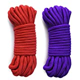LEVOSTORE Cotton Rope, 2-Pack 32 Feet 10 Meter 5mm Soft Twisted Cotton Knot Tying Rope Cord (2PACK-Purple RED)