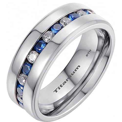 Mens Titanium Ring With Blue Sapphire CZ Classic Wedding Engagement Band Ring Z+2