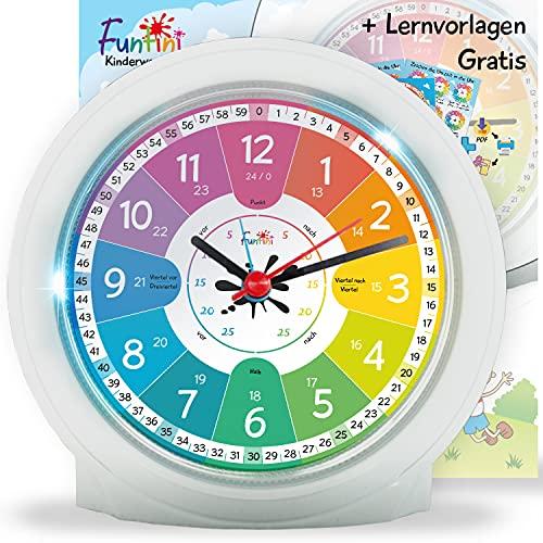 Funtini Kinderwecker-Set ◆ lautlos ◆ neu auf dem Markt ◆ ohne Ticken mit Nachtlicht   Kinder-Wecker mit Lernvorlagen zum Uhr lesen Lernen   kreative Geschenk-Idee: analog für Jungen & Mädchen