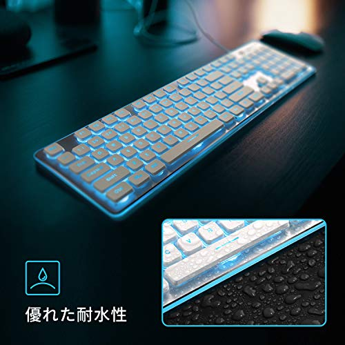LANGTUゲーミングキーボードキーボード有線メンブレン薄型LEDバックライト25キー防衝突テンキー付防水USB接続ゲームオフィス対応英語104キーホワイトKB-L2-WB