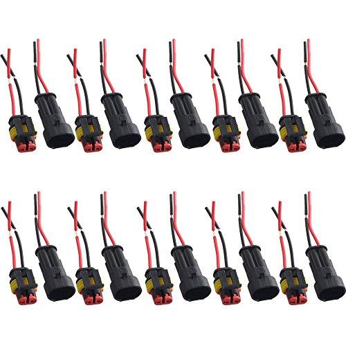 Mintice trade; 10 X 2-Polig Kabel Steckverbinder Stecker Wasserdicht Schnellverbinder Draht Elektrisch Ausrüstung KFZ LKW Auto