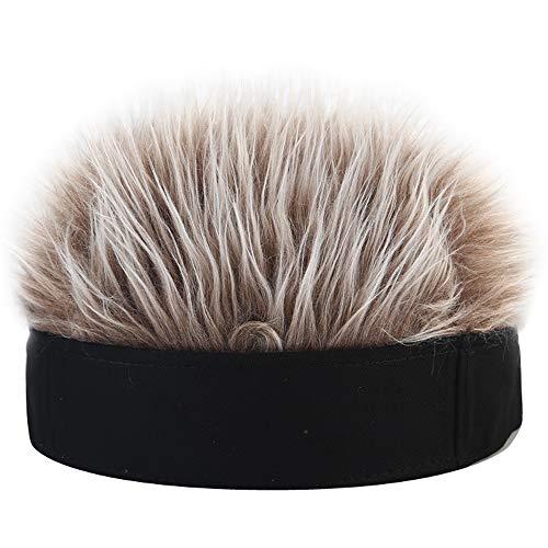 YEKEYI Novelty Hair Visor Cap Adjustable Baseball Hat Wig Spiked Hairs Unisex Cycling Bike Bicycle Cap Fake Hair Wig Visor Black Coffee