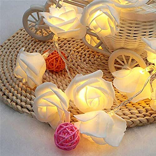 Techhub 20 Led Battery Operated String Romantic Flower Rose Premium Fairy Light Lamp Outdoor for Valentine's Day, Wedding, Room, Garden, Christmas, Patio, Festival Party Decor (Warm White)