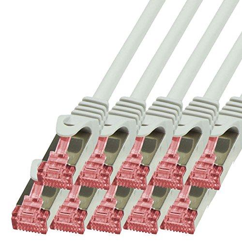 BIGtec Lan Kabel 10 Stück 0,15m Netzwerkkabel Ethernet Internet Patchkabel CAT.6 grau Gigabit SFTP doppelt geschirmt für Netzwerke Modem Router Switch 2 x RJ45 kompatibel zu CAT.5 CAT.6a CAT.7 Stecker