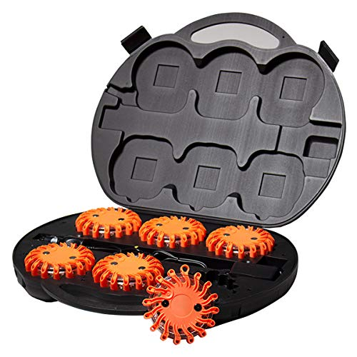 SpeedTech Lights 6 Pack of Rechargeable 16 LED Red Disc Warning Beacon Emergency Road Flares