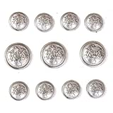 Silver Metal Buttons Set for Blazer Sport Coat or Suit Jacket button...