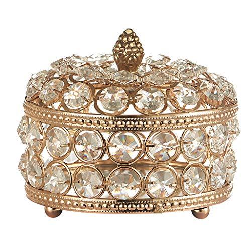 Fenteer Cajas de joyería de Cristal para Mujer-Organizador de Almacenamiento de Joyas-Anillos portátiles Collar de Pendientes Caja de Almacenamiento de Joyas - 12x10cm
