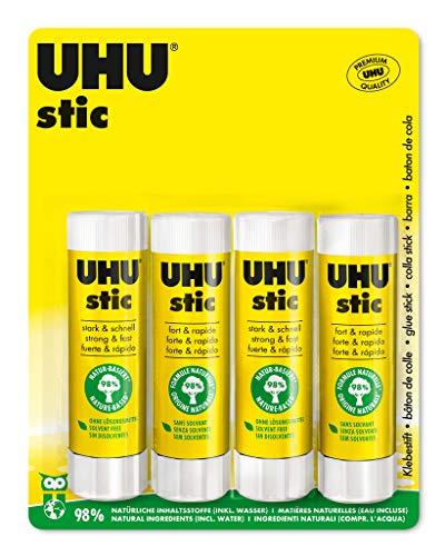 UHU Stic, Der Bewährte Klebestift - Klebt Stark, Schnell und dauerhaft, 4 x 40 g