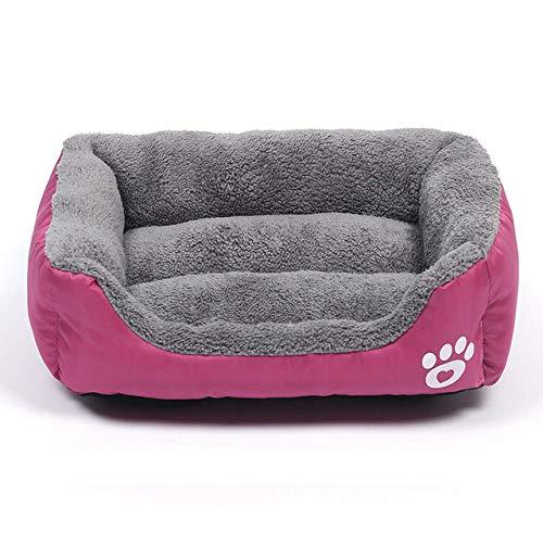 DHUMI Hundebett Pfote Haustier Sofa Matte Wasserdichter Boden Weiches Vlies Warmes Katzenbett Matratze Haus Petshop, Rose, XL