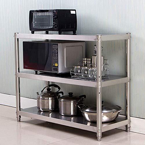 WY-YAN Párese microondas estantes de la Cocina de microondas de validez 3 Capas estantes de Almacenamiento Espesado Acero Inoxidable de Piso Tres Bastidores Horno Microondas Carrito de Almacenamiento