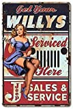 Willys Serviced Here Pin-up Girl Vintage InchRetro Metal Letrero de hojalata 20,3 x 30,5 cm...