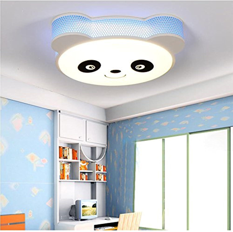 Kreative Kinderzimmer LED Panda Eisen Kronleuchter Dimmbare Deckenleuchte Schlafzimmer Acryl Pendelleuchte (Farbe   Blau)