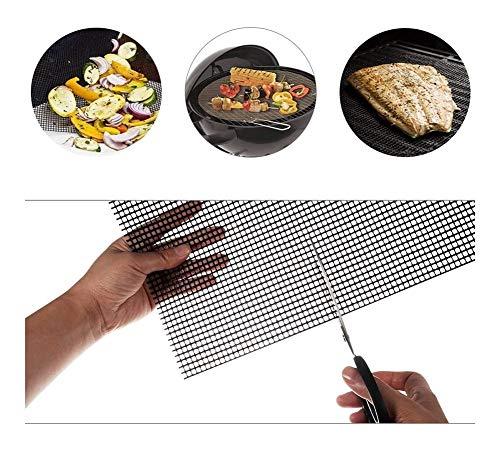 QTDH 3 PC-Grill Mesh-Mat Nonstick BBQ Grillen & Backblech Liner Wiederverwendbare for Gegrilltes Gemüse/Fisch/Fajitas/Krabbe, Den Einsatz Auf Gas, Kohle, Elektro-Grill