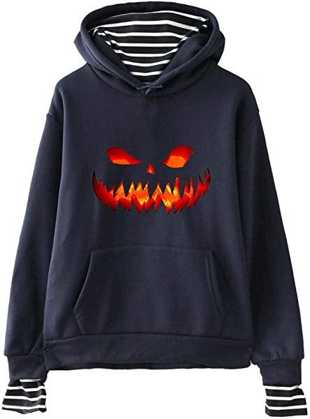 ZOMUSAR Ladies Sweatshirt Women S Halloween Festival Print Striped Stitching Fake Two Piece Hooded Sweatshirt