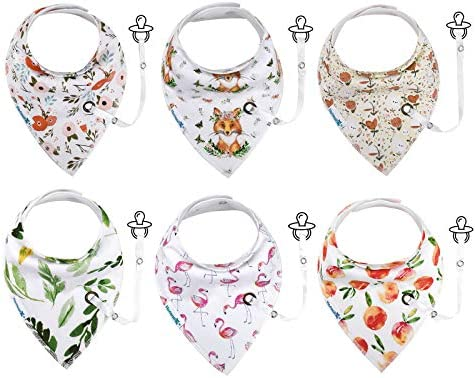 Hafmall 6 Pack Baby Bandana Bibs for Drooling and Teething Baby Bibs with Pacifier Holder Leashes product image
