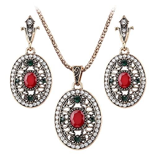 YUANBOO 2 unids Pavo de joyería de Boda Conjuntos de Joyas para Mujeres Dubai Antiguo Color Oro ovalados Pendientes y Collares de joyería Retro Regalo de Cristal