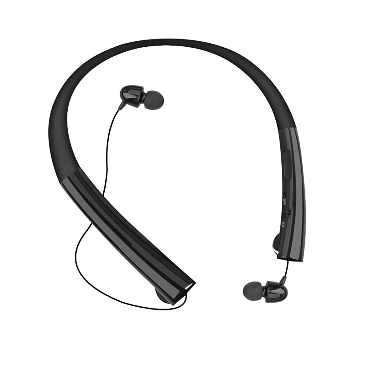 Bluetooth Headphones Chof Wireless Retractable Earbuds Neckband Bluetooth Headset Stereo Sound with Mic, Sport Sweatproof, Call Vibrate Alert-Black