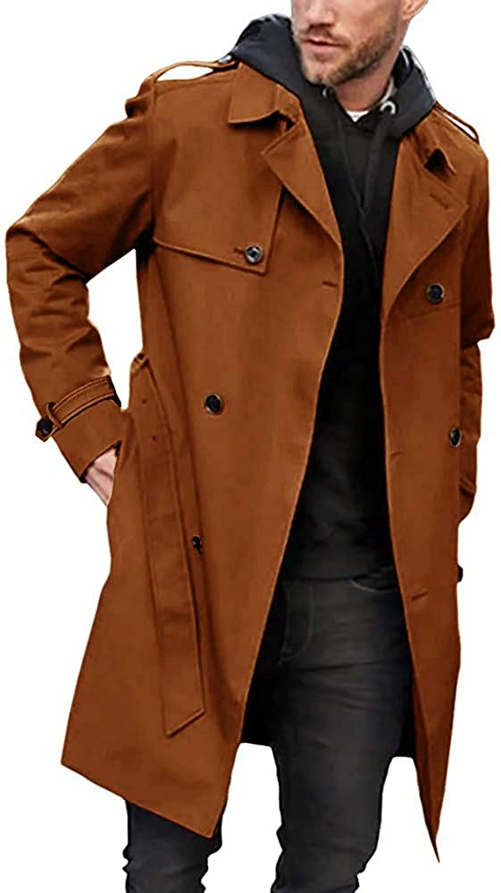 Men's Trench Houston Max 72% OFF Mall Coat Slim fit Breasted Double La Windbreaker Belted