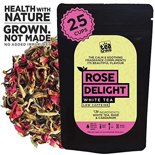 The Tea Trove – Rose Delight White Tea for Skin Glow & Weight Loss | (50gms, 25 Cups)