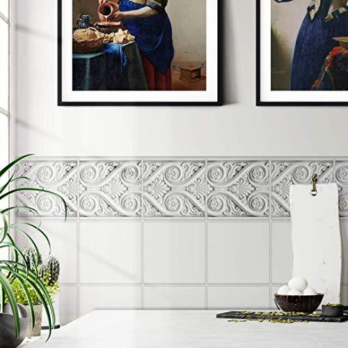 Adhesivo para azulejos y muebles, mate, 15 x 15 cm, cenefa antigua, juego de 12 unidades