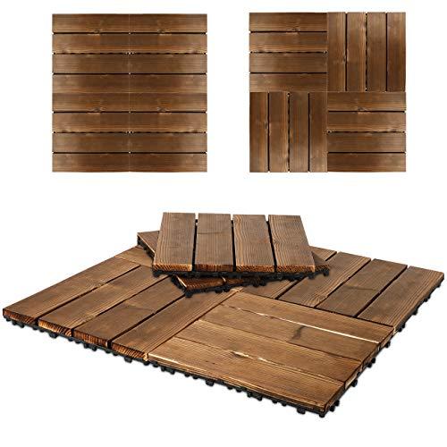 Triclicks 9×Baldosas de Madera Para Terrazas, Decking Tiles, Patio, Techo, Balcón, Juegos de Terrazas Para Jardín,29cm×29cm (9 piezas)