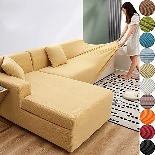 XHTANG Sofabezug Sofaüberwürfe für L-Form Sofa elastische Stretch Sofabezug
