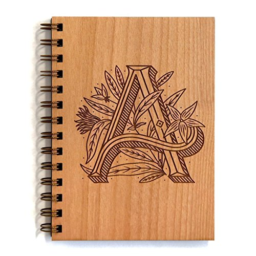 Floral Monogram A Wood Journal - Other Letters Available [Notebook,...