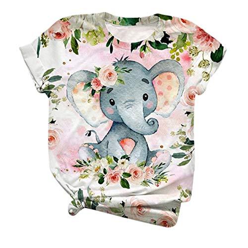 L9WEI Top mit Elefant Drucken Frauen Casual Schlupfhemd Loose Kurzarm Tops Mode Oberteile Damen Bluse Rundhals Kurz Ärmel Shirts
