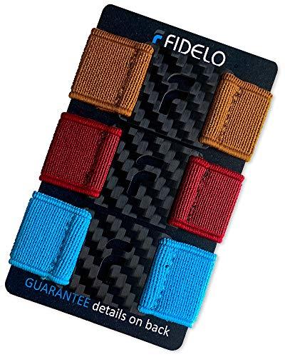 Fidelo Carbon Fiber Minimalist Wallet – Slim RFID Credit Card Holder Money Clip for Men - BAND PACK ONLY (3 Bands - Rust/Firebrick Red/Sky Blue) Wallet NOT Included