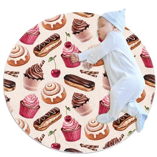 Rond gebied tapijt, deurmatten, tapijt, chocolade cake kaneel broodje antislip voor slaapkamer, woonkamer, kinderen of boek kamer
