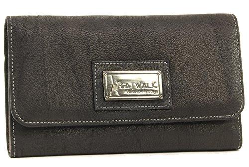Catwalk Collection Handbags - Leder - Ledergeldbeutel mit Geschenkbox - GEMMA - Schwarz - RFID